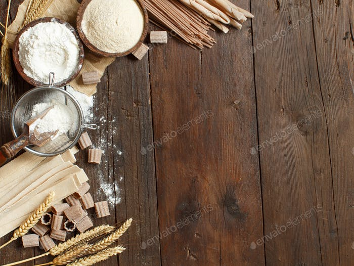 Ingredients and utensils for pasta making