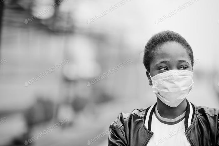 African student wearing medical mask