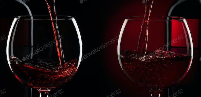 Rotwein in das Glas vor rotem schwarzem Hintergrund gießen