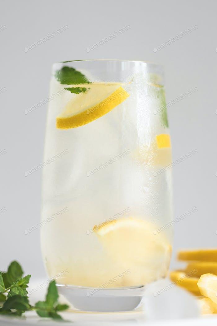 Glass of Lemonade or Lemon Water.