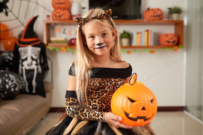 Pretty Girl With Cat Makeup