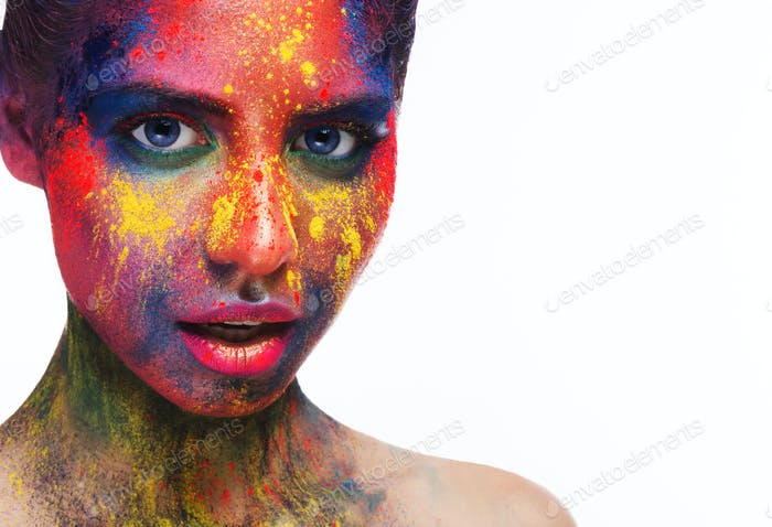 Beauty model with colorful powder make up