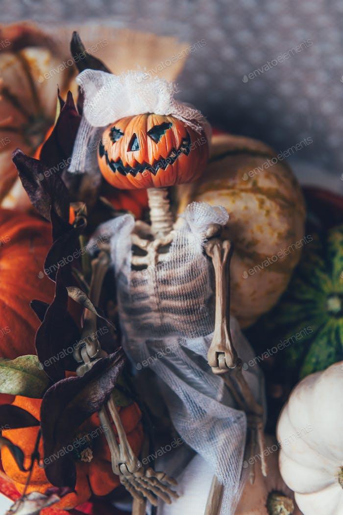 Kürbisse und Skelett Kürbis Braut