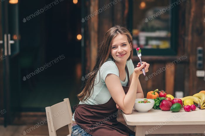 Young girl eating