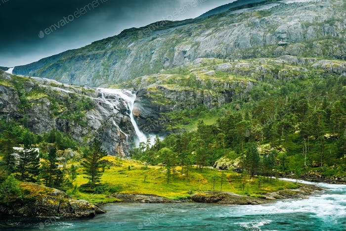 South Fjord, Norway. Giant Waterfall In Valley Of Waterfalls. Hu