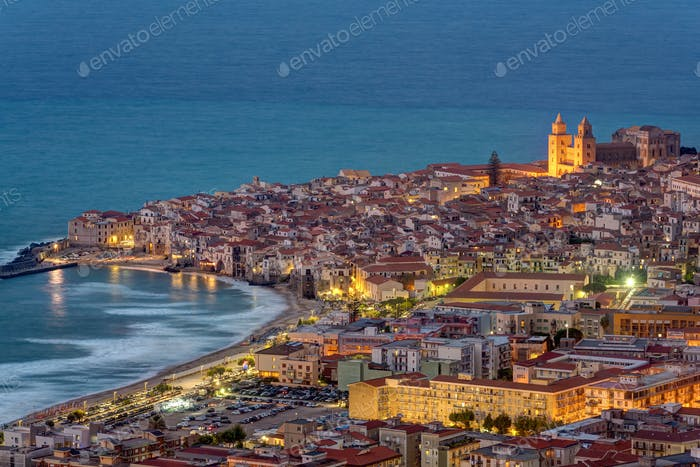 Cefalu in Sicily at twilight