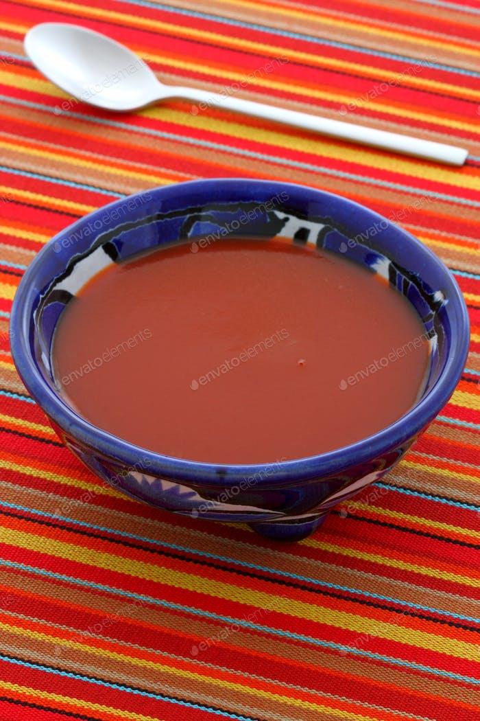 Delicious red hot chili salsa