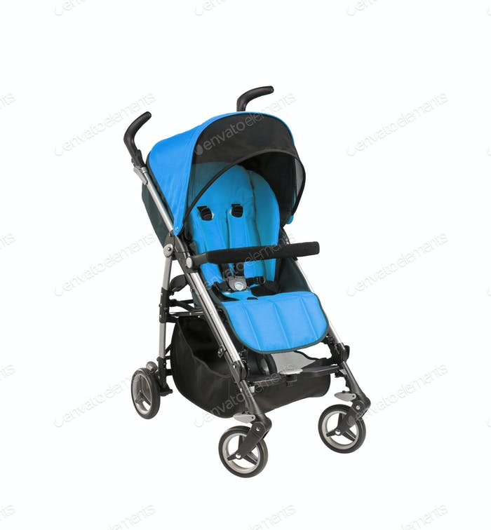 blue baby carriage isolated