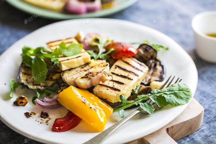 Grilled Halloumi with aubergine and pepper salad