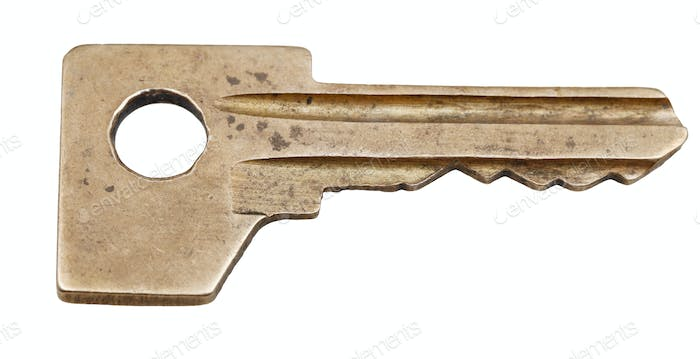 one brass door key for cylinder lock