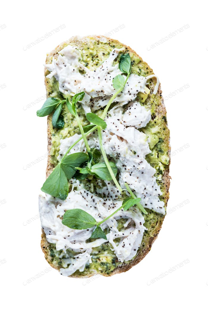 Healthy sandwich, clean eating, isolated on white