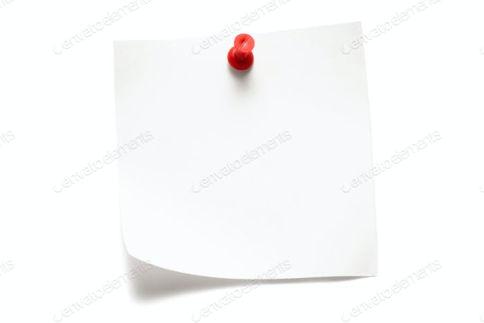 White Note Isolated on a White Background