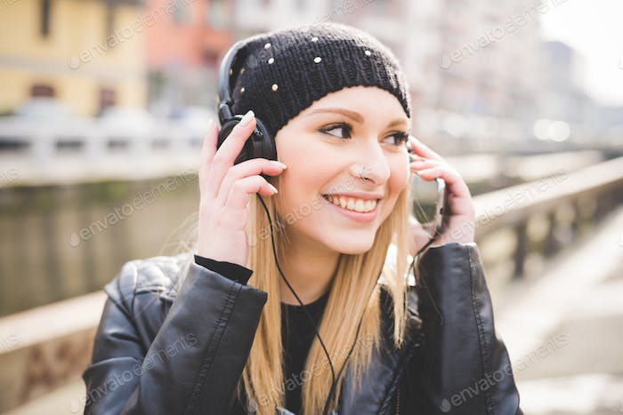 young beautiful blonde straight hair woman