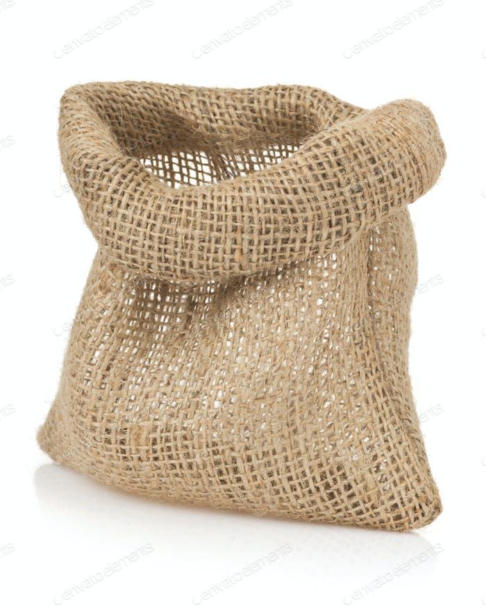 empty burlap sack bag on white