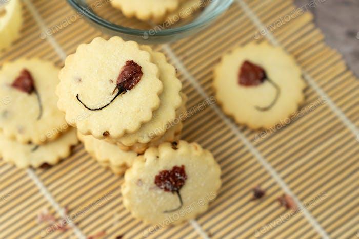 Sakura cookies with salted cherry blossom flower
