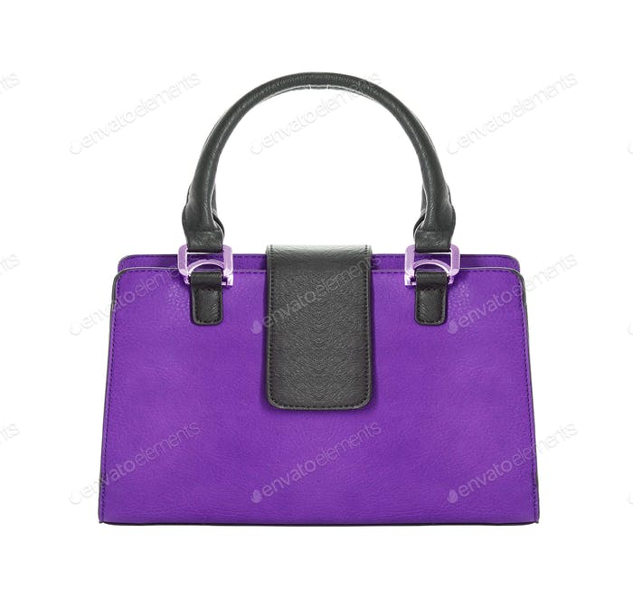 Violet glossy female leather bag