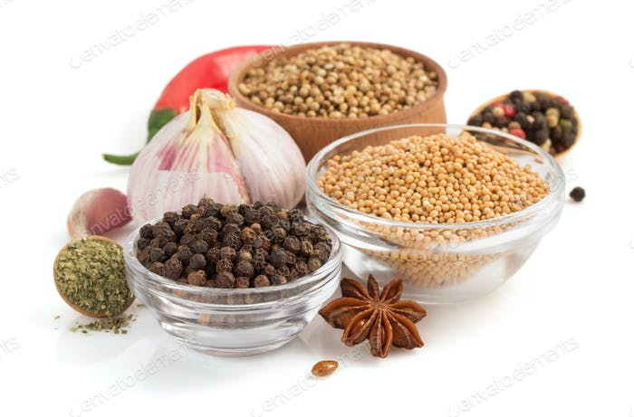 food ingredients and spices on white