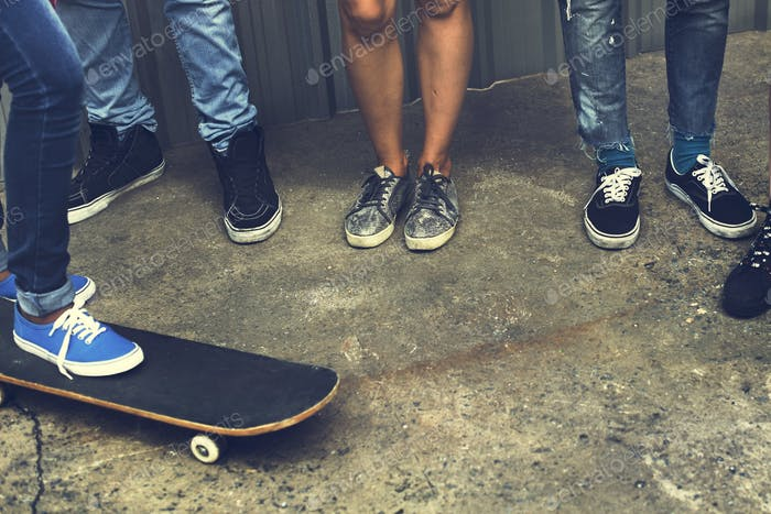 People Friendship Skateboard Extreme Sport Team Concept