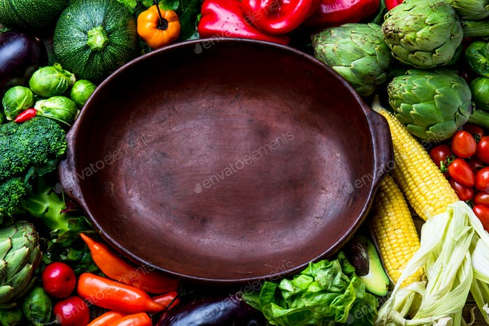Cooking background with fresh vegetables. Copy space. fall cooking background.