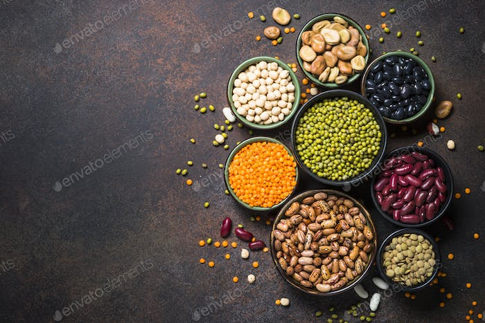Legumes, lentils, chikpea and beans assortment.