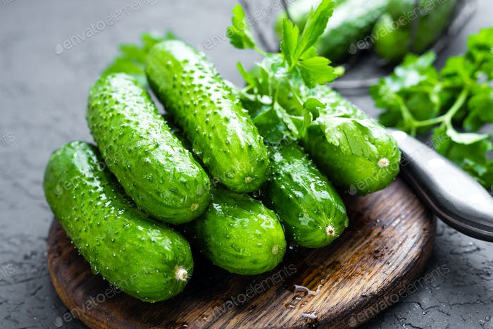 Cucumbers. Fresh cucumbers on wooden board