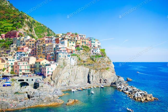 Beautiful view of the amazing village of Manarola in the Cinque Terre reserve. Liguria region of