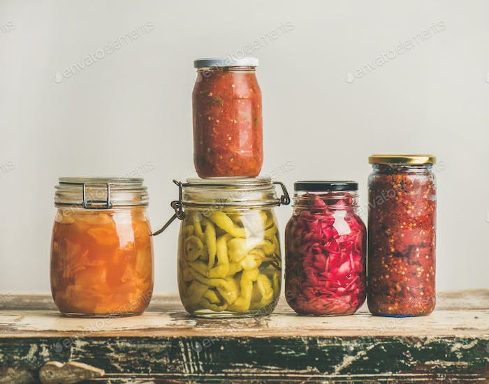 Autumn seasonal pickled or fermented vegetables, copy space