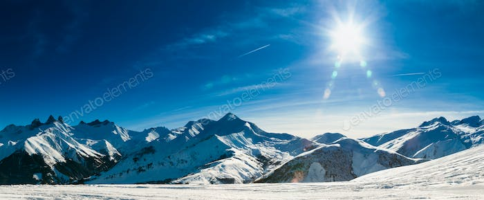 Panorama View Of European Alps In France