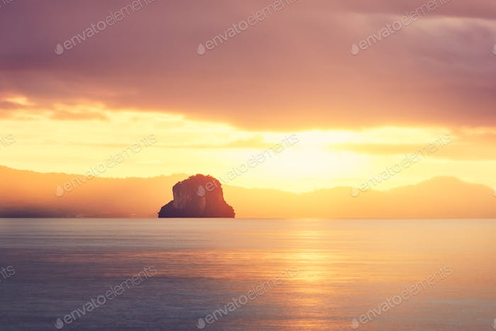Amazing sunrise on the sea