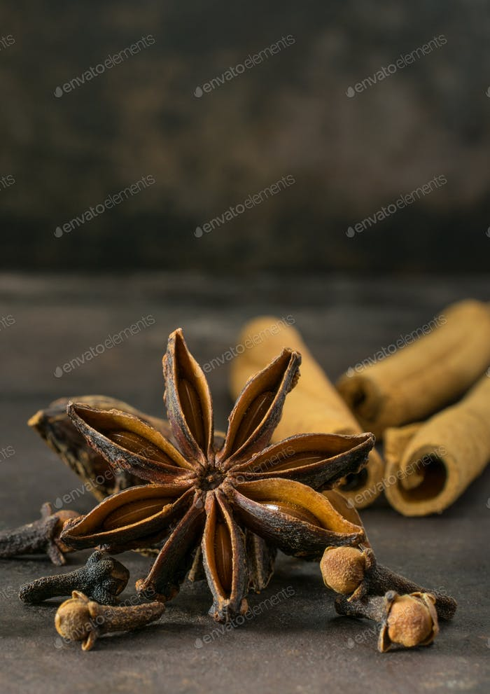 Aniseed star, cinnamon sticks and cloves