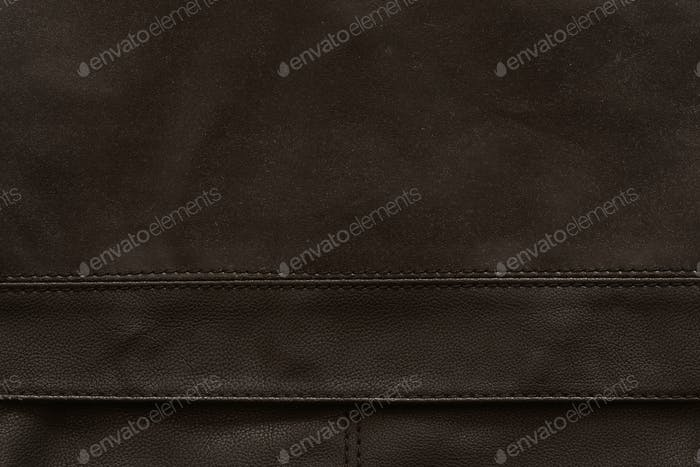 Brown leather with seam as a background