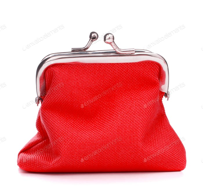 red cash wallet isolated on white background. Charge purse. Coin wallet.