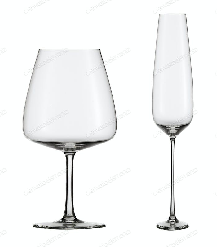 empty wine glasses isolated