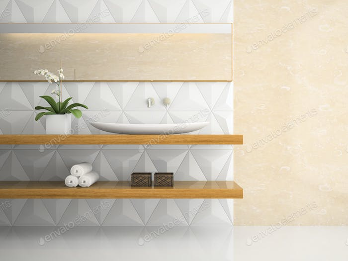 Part of interior stylish white bathroom 3D rendering