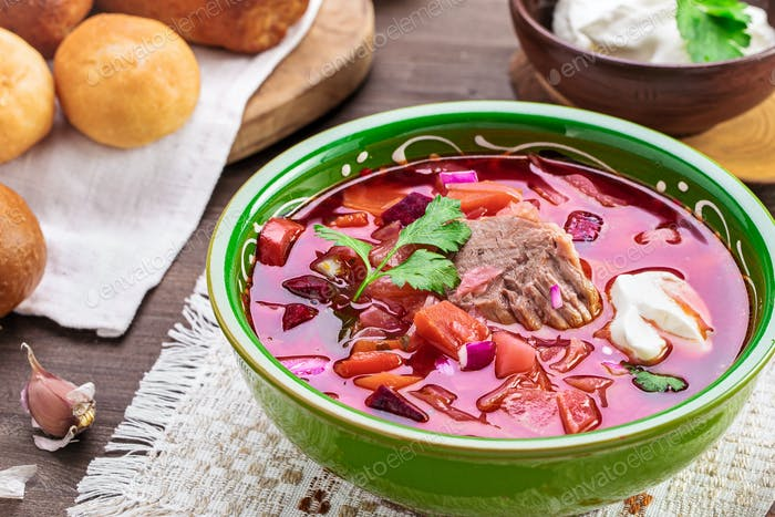 Borscht on table