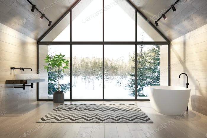 Thumbnail for Interior bathroom of a forest house 3D rendering