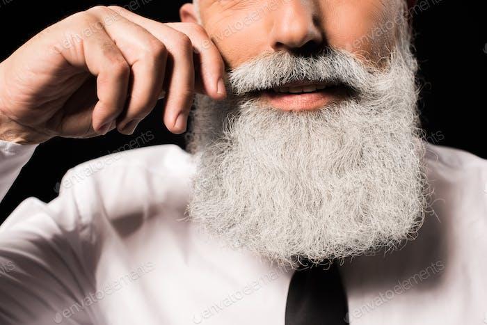Zugeschnittene Aufnahme eines Mannes mit einem langen Bart drehenden Schnurrbart