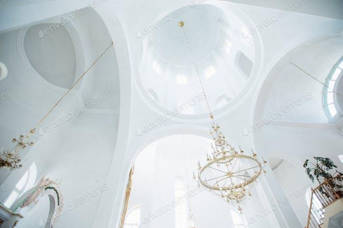 beautiful white dome inside the church