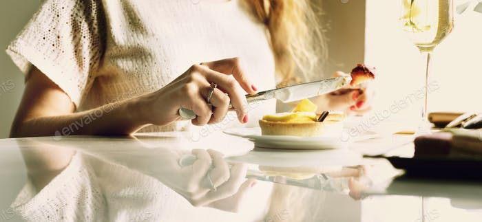Woman Eating Dessert Chill Relax Concept