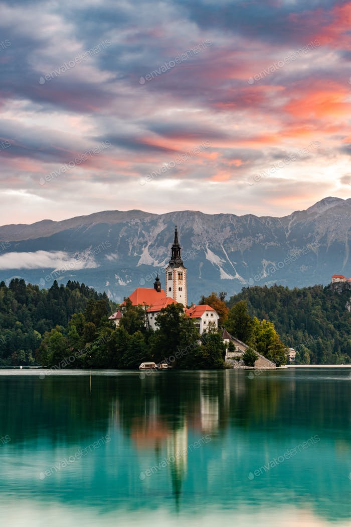 Bled Lake in Slovenia with Church on Island at Sunrise. Slovenia