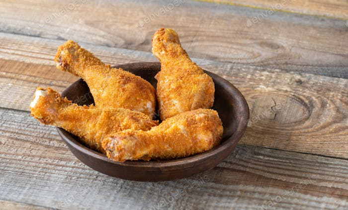 Breaded chicken drumsticks
