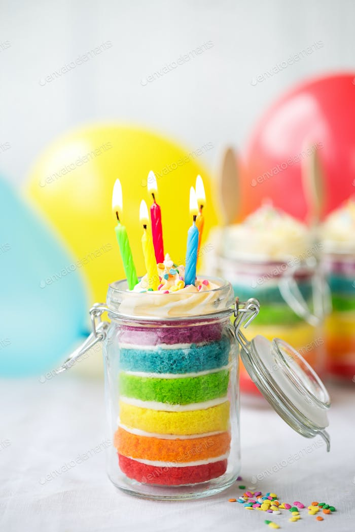 Rainbow birthday cake in a jar