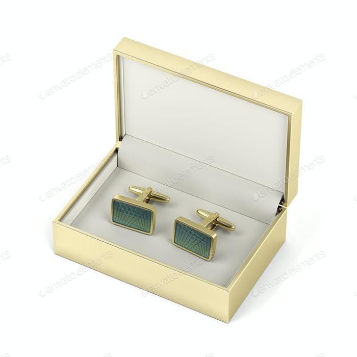 Golden box with cufflinks