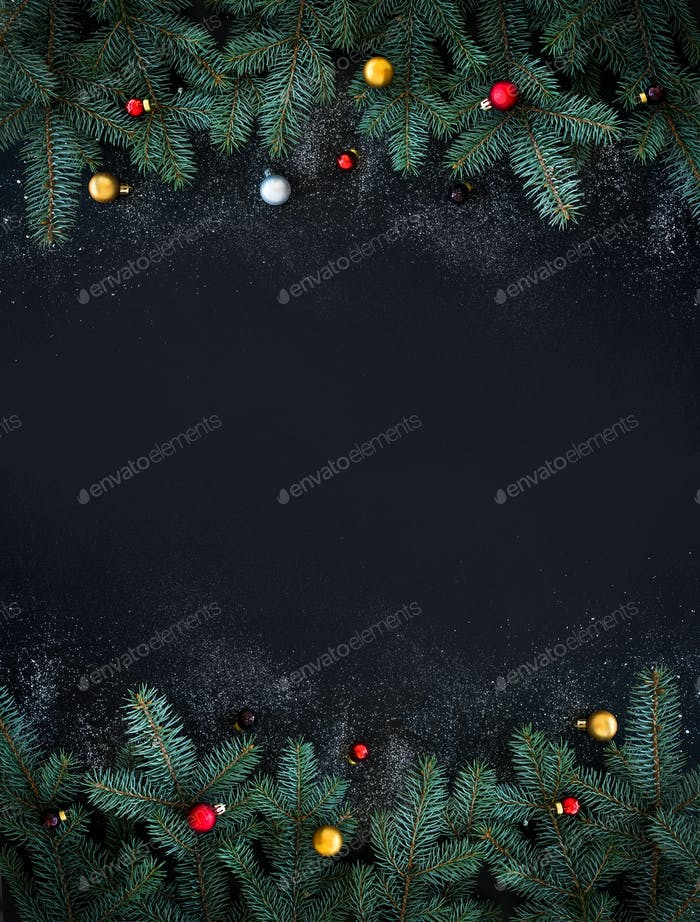 Christmas or New Year decoration background: fur-tree branches,