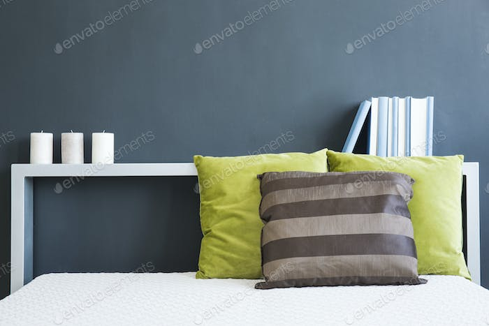Bed headboard with books