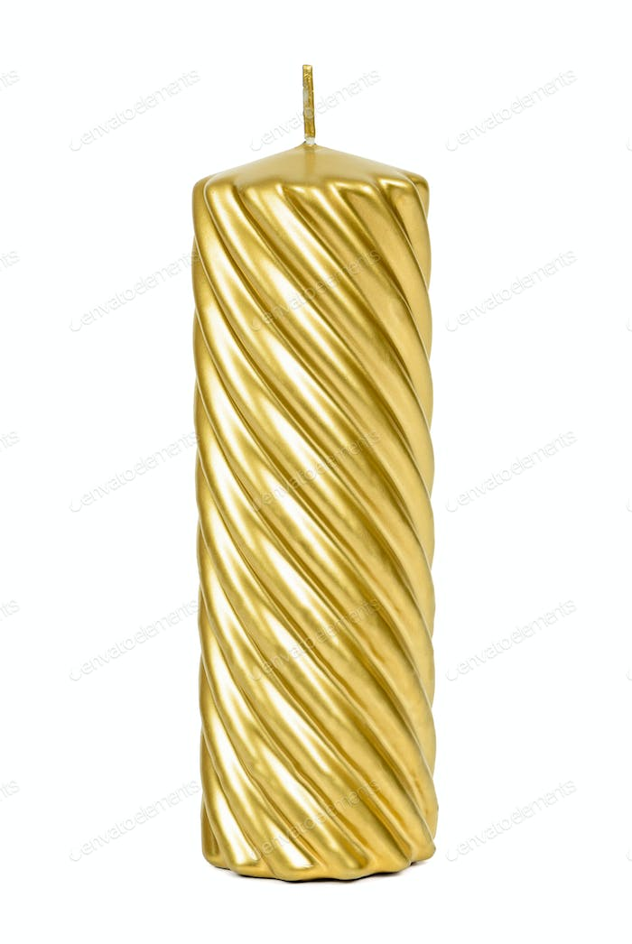 Golden decorative candle on white background