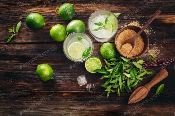 Ingredients for mojito, mint, lime and ice