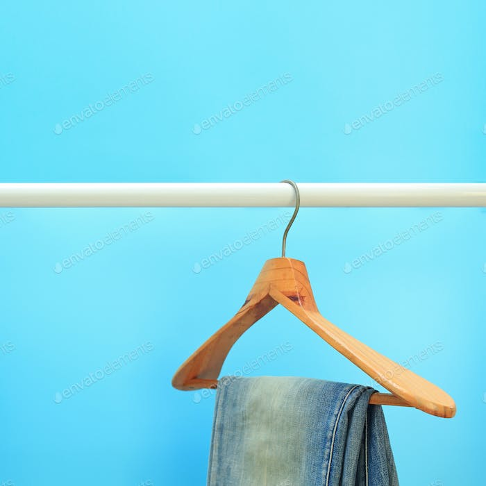Image of hanged blue jeans