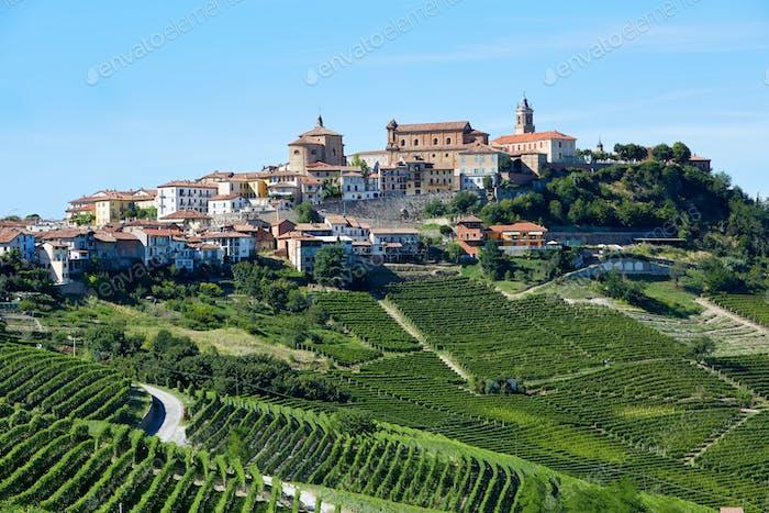 La Morra town in Piedmont, Langhe hills in Italy, blue sky