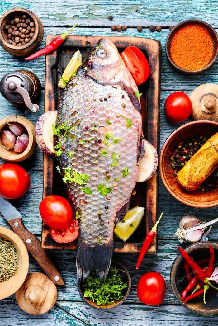 Fresh fish and food ingredients